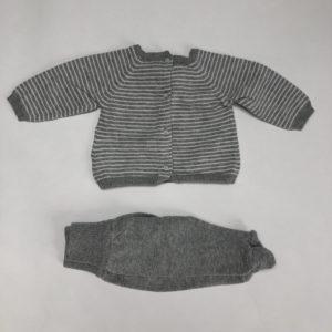 Setje sweater streep en broekje met voetjes grijs Tuctuc 1m