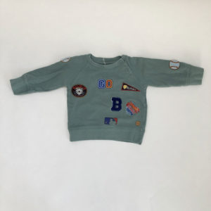 Sweater patches groen Blue Bay