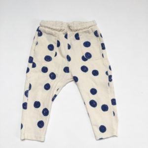 Broekje bouclé blauwe dots Zara 6-9m