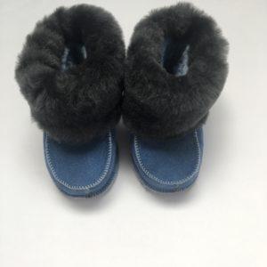Schoentjes donkerblauw met bontje
