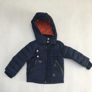 Gewatteerde jas met kap donkerblauw Noppies 80