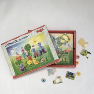 Houten puzzel dierenkinderen HABA