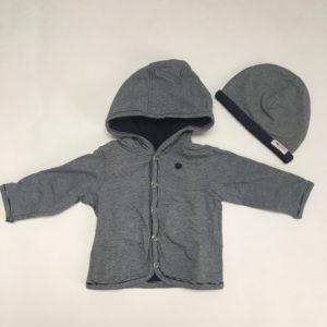 Sweaterjasje met kap + mutsje stripes Noppies 50/56