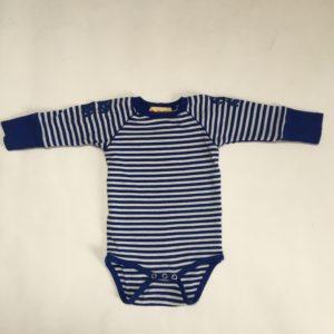 Onesie donkerblauw velvet  + romper stripes Albababy 74/80