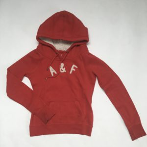 Hoodie rood Abercrombie & Fitch XS