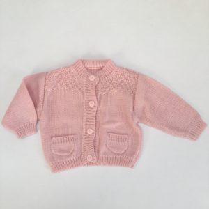 Gilet gebreid roze 6-12m / 80