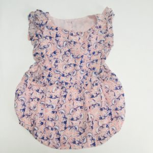Playsuit sleeveless pink plants Simple Kids 3-6m / 68