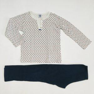 Pyjama flowers met blauwe broek Petit Bateau 6jr / 116