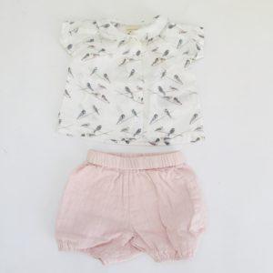Setje hemdje + bloomer birds Pigeon Organics 3-6m
