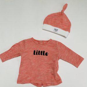Longsleeve little + babymutsje Feliz by Filou 0m / 50