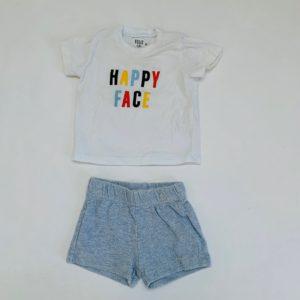 Babyshortje lichtgrijs + tshirt happy face Feliz by Filou 3m