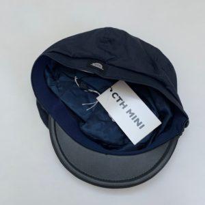 Petje donkerblauw met lederen klepje CTH Mini 54