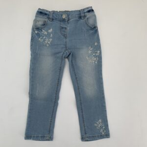 Jeansbroek embroidery flowers Next 2-3jr / 98