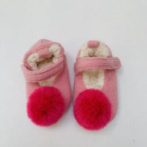 Pantoffels pompom pink Ruby + Ed 6-12m