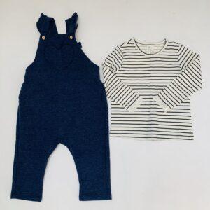Salopet blauw + longsleeve stripes H&M 9-12m / 80