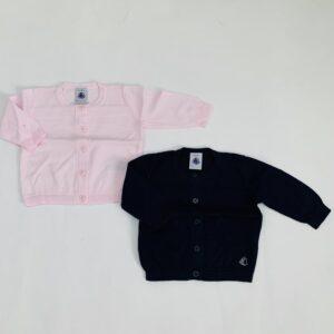 2 x gilet donkerblauw / roze Petit Bateau 3m / 60