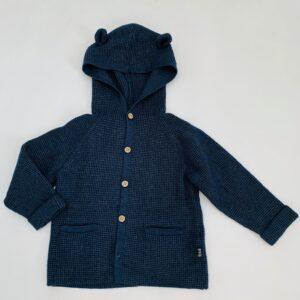 Hoodie tricot donkerblauw met berenoortjes Zara 12-18m / 86