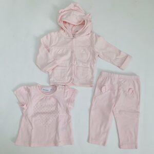 Setje hoodie, longsleeve en  broekje pink Noukie's1m / 56