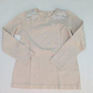 Longsleeve pink met kanten schouders Newbie 110/116