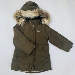 Gevoerde jas kaki met kap faux fur Virgino Apparel 4jr
