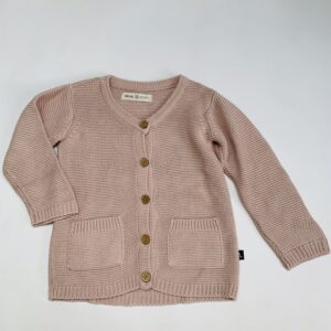 Lange gilet tricot roze CarlijnQ 6-12m / 74/80