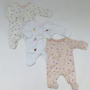 3x pyjama voetjes fruit Next Newborn/50