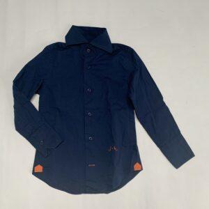 Hemd donkerblauw met oranje detail Jan Van Trier 6jr