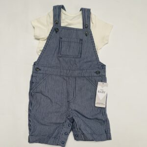 Setje salopet stripes + t-shirt Marks & Spencer 12-18m / 83