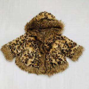 Faux fur leopard jas Monnalisa Bebè 9m
