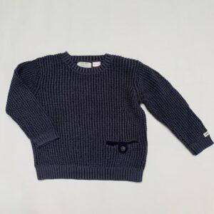 Grof gebreide trui blauw  met zakje vooraan Zara 2-3jr / 98