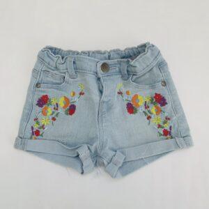 Denim short flowers embroidery Zara 9-12m / 80