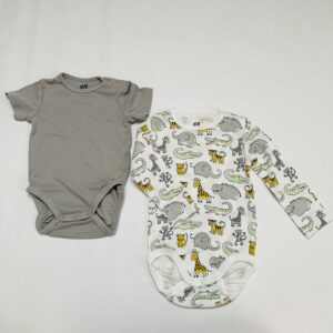 2 x romper animals grey H&M 6-9m / 74