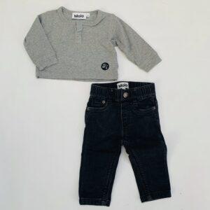Set grijze longsleeve + zwarte jeans met rekker Molo 68