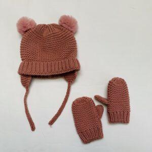 Muts + handschoenen pink tricot Zara 6-12m / 80