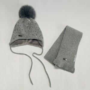 Muts + sjaal grijs pailletjes First 40cm / 6-12m