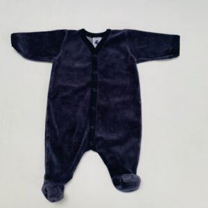 Fluwelen boxpakje met voetjes donkerblauw Petit Bateau 1m