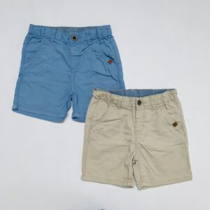 2x short blauwe/beige Zara 6-9m / 74