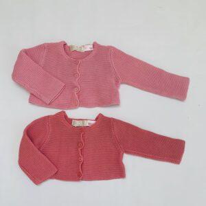 2 x gebreide gilet roze Zara 1-3m / 62