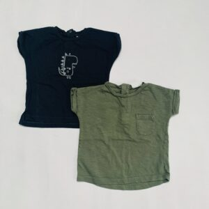 2x t-shirt kaki/zwart Next 6-9m