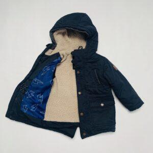 Gevoerde jas met teddy en kap donkerblauw JBC 98
