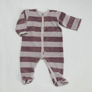 Fluwelen pyjama met voetjes stripes Petit Bateau 12m / 74