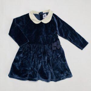 Fluwelen kleedje donkerblauw met kraag Petit Bateau 18m / 81