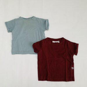 2x basic t-shirt blauw/bordeaux Cos I said so 68/74