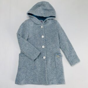 Lange jas blauw met kap tweedstof River Woods 128