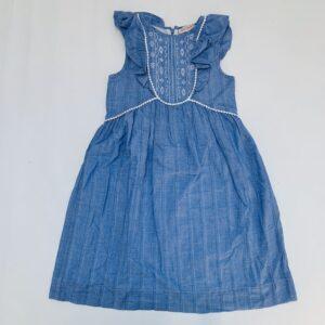 Kleedje blauw embroidery met frill afwerking Lili Gaufrette 8jr