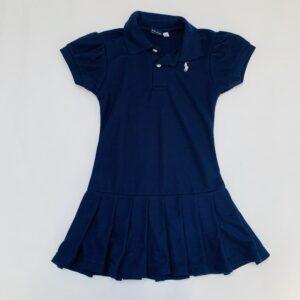 Kleedje shortsleeve met plissé onderkant donkerblauw Ralph Lauren 12jr