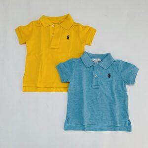 2x polo blauw / geel Ralph Lauren 9m