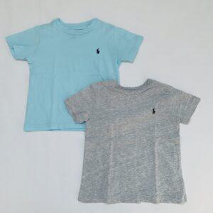 2x t-shirt lichtblauw / grijs Ralph Lauren 2jr / 90