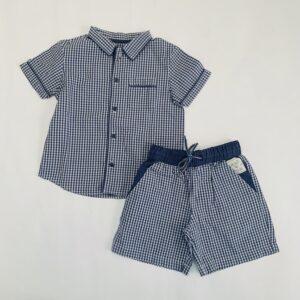 Korte pyjama donkerblauwe ruit Cyrillus 3jr / 94
