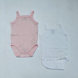 2x romper sleeveless pink/white Petit Bateau 3m / 60
